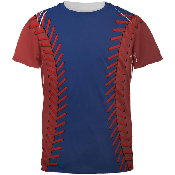 Baseball League Blue and Red All Over Mens T Shirt