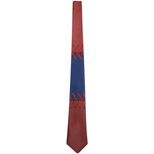Baseball League Blue and Red All Over Neck Tie