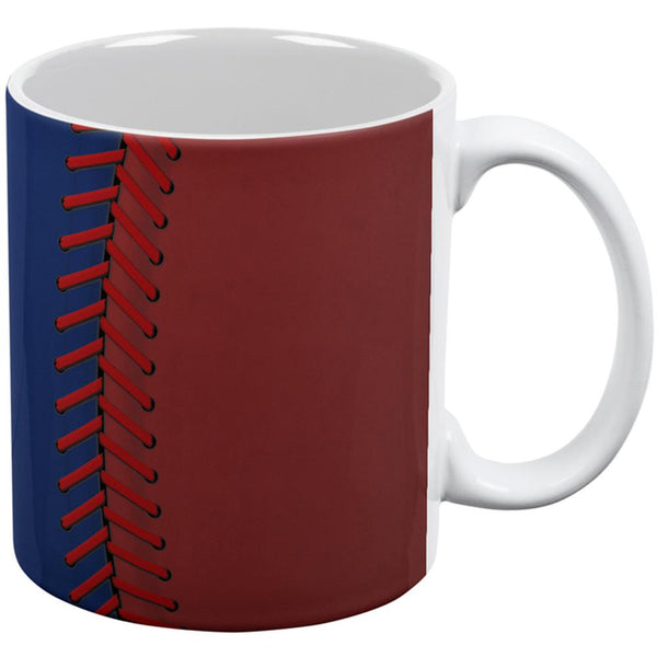 Baseball League Blue and Red All Over Coffee Mug