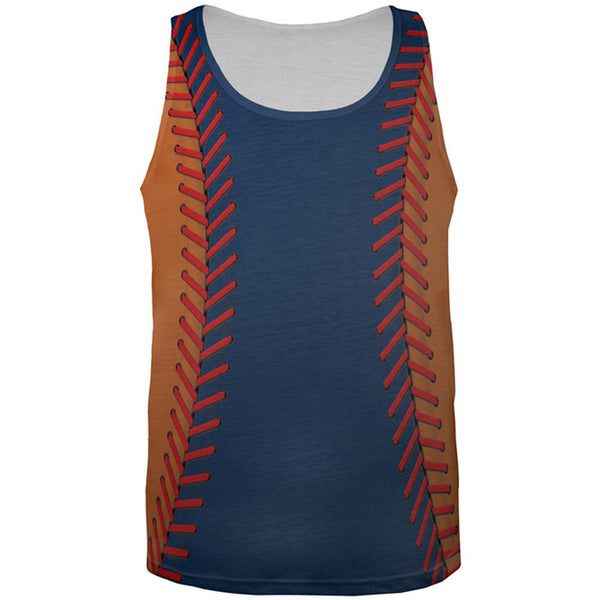 Baseball League Navy Blue and Orange All Over Mens Tank Top