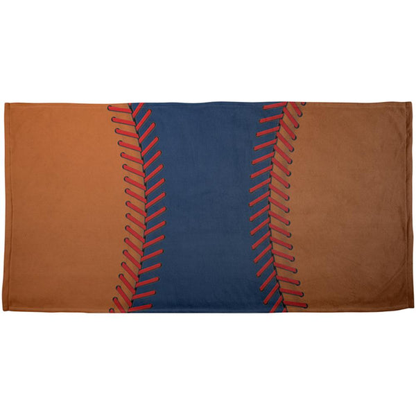 Baseball League Navy Blue and Orange All Over Beach Towel