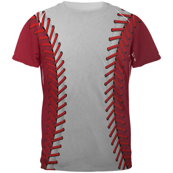Baseball League White and Red All Over Mens T Shirt