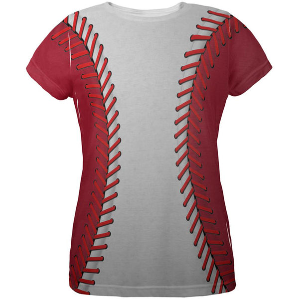 Baseball League White and Red All Over Womens T Shirt