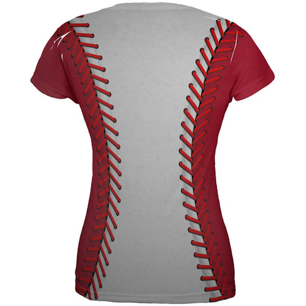 Baseball League White and Red All Over Juniors T Shirt