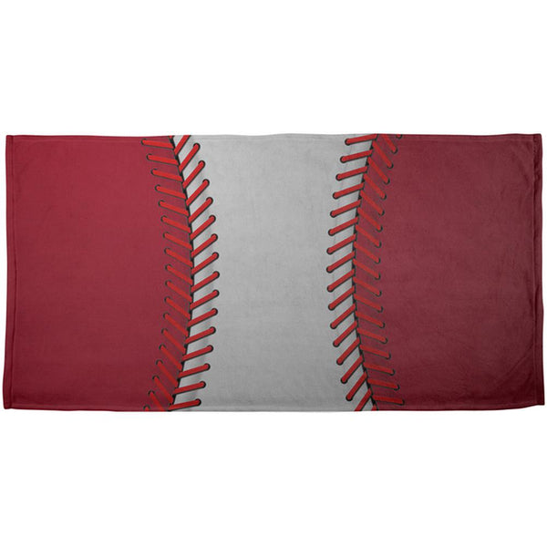 Baseball League White and Red All Over Beach Towel