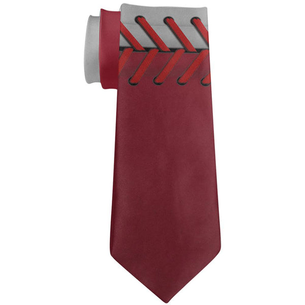 Baseball League White and Red All Over Neck Tie