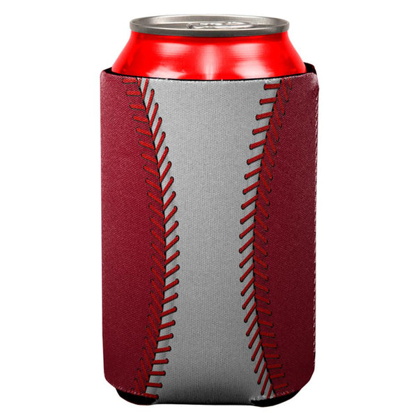 Baseball League White and Red All Over Can Cooler