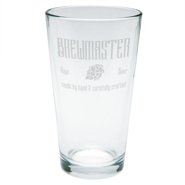 Brewmaster Beer Hops Hand Crafted Etched Pint Glass