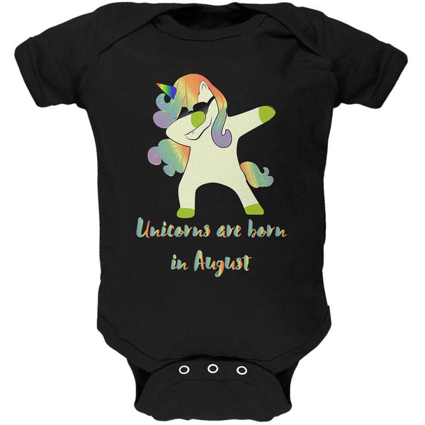 August Birthday Dabbing Unicorn Sunglasses Soft Baby One Piece