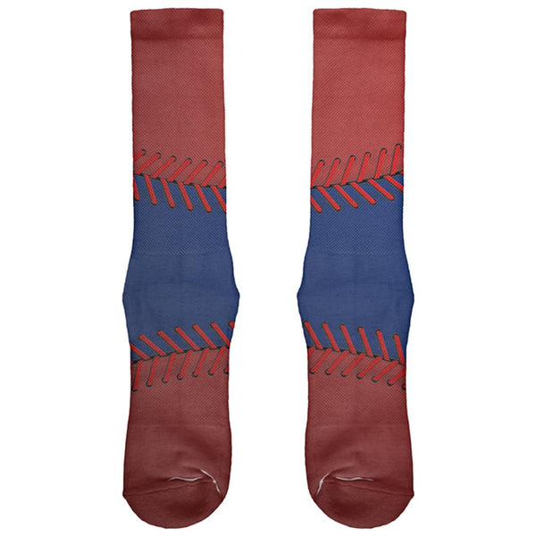 Baseball League Blue and Red All Over Soft Socks