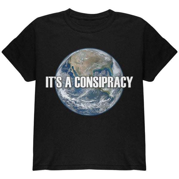 Earth Day It's A Conspiracy Earth Flat Not Round Youth T Shirt