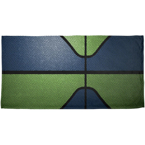 Championship Basketball Dark Blue and Electric Green All Over Beach Towel