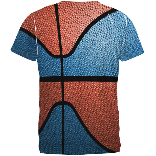 Championship Basketball Blue and Orange All Over Mens T Shirt