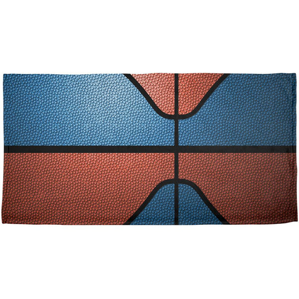 Championship Basketball Blue and Orange All Over Beach Towel