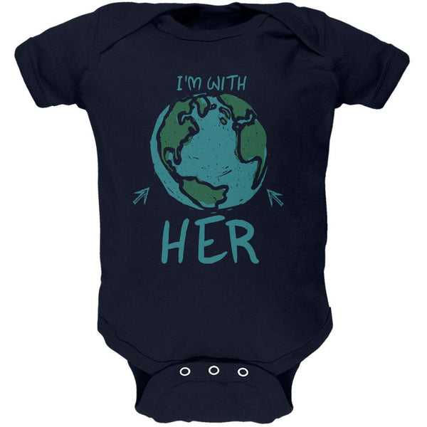 Earth Day I'm With Her Globe Soft Baby One Piece