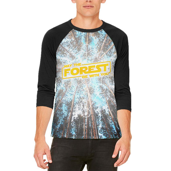 Earth Day May the Forest be with You Mens Raglan T Shirt