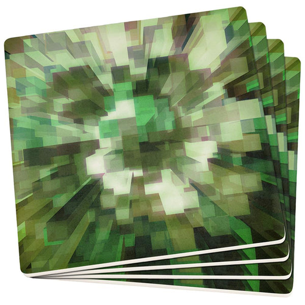 World Game Builder Camo Blocks Set of 4 Square Sandstone Coasters