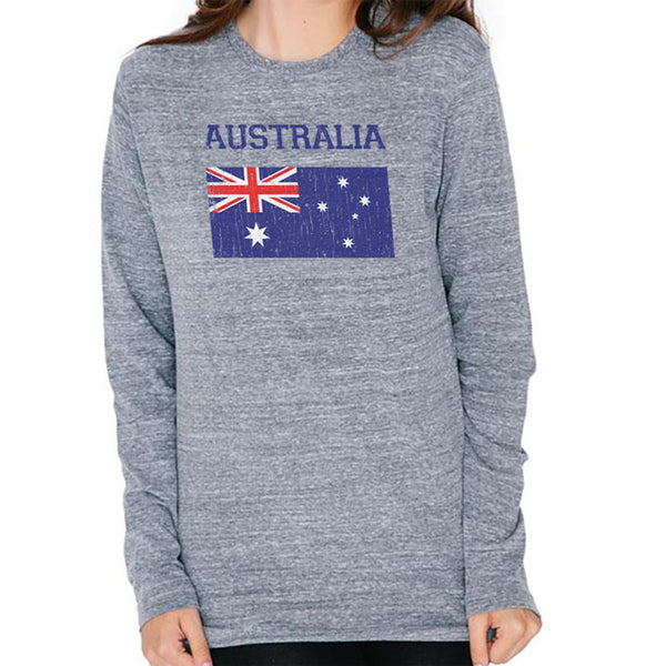 World Cup Distressed Flag Australia Mens Soft Long Sleeve T Shirt