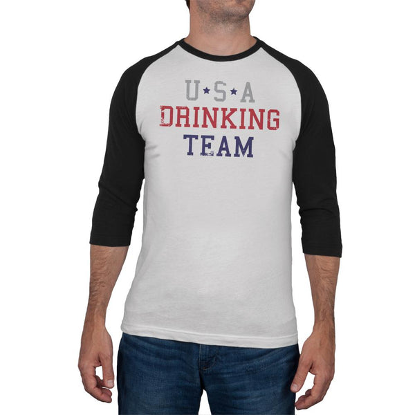 4th of July USA Drinking Team Mens Soft Raglan T Shirt