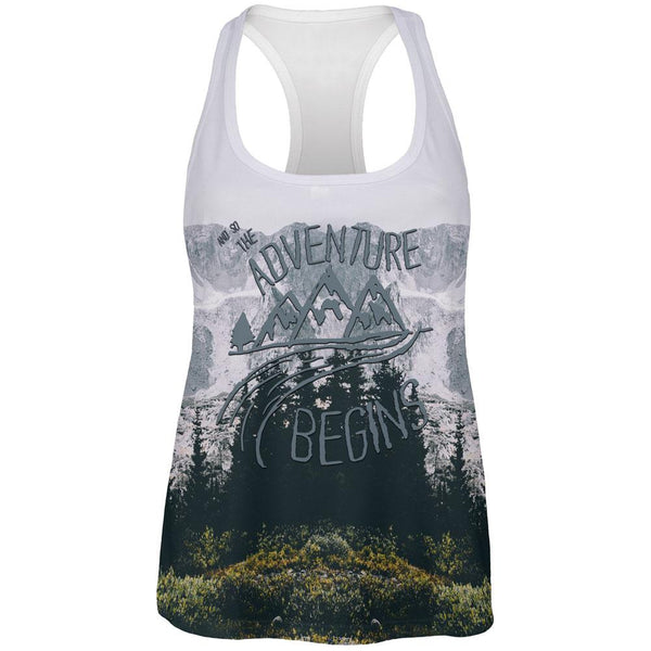 Hiking Mountains So The Adventure Begins All Over Womens Work Out Tank Top