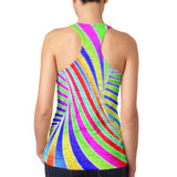 Rainbow Trippy Swirl Juniors Burnout Racerback Tank Top