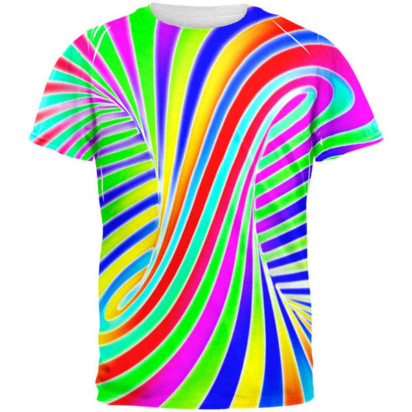 Rainbow Trippy Swirl All Over Mens T Shirt