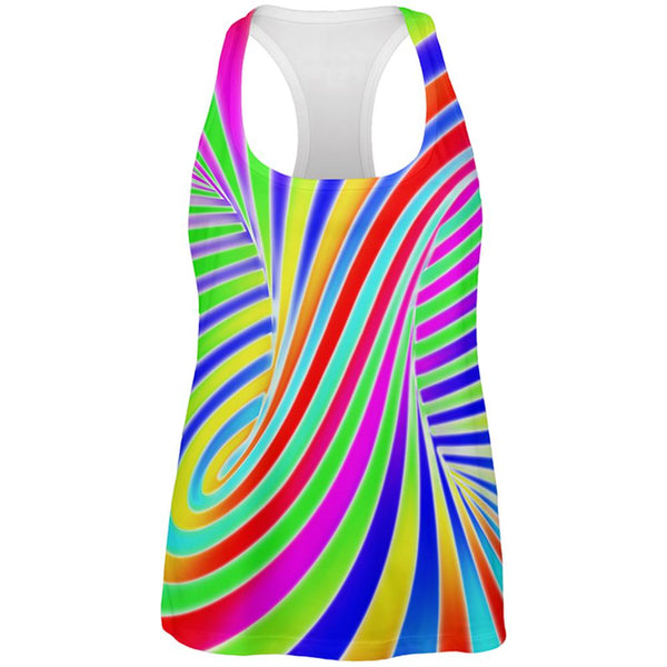 Rainbow Trippy Swirl All Over Womens Work Out Tank Top
