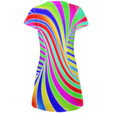 Rainbow Trippy Swirl All Over Juniors Beach Cover-Up Dress