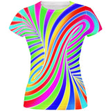 Rainbow Trippy Swirl All Over Juniors T Shirt