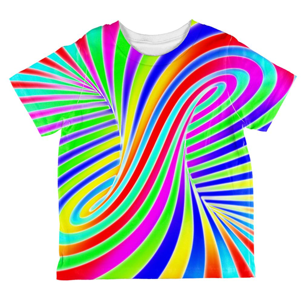 Rainbow Trippy Swirl All Over Toddler T Shirt
