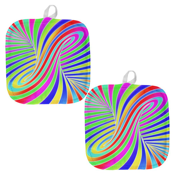 Rainbow Trippy Swirl All Over Pot Holder (Set of 2)