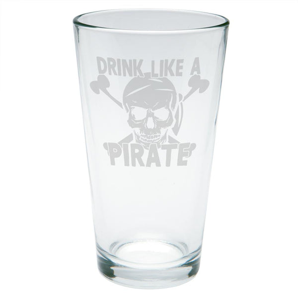 Drink Like A Pirate Jolly Roger Skull & Crossbones Etched Pint Glass