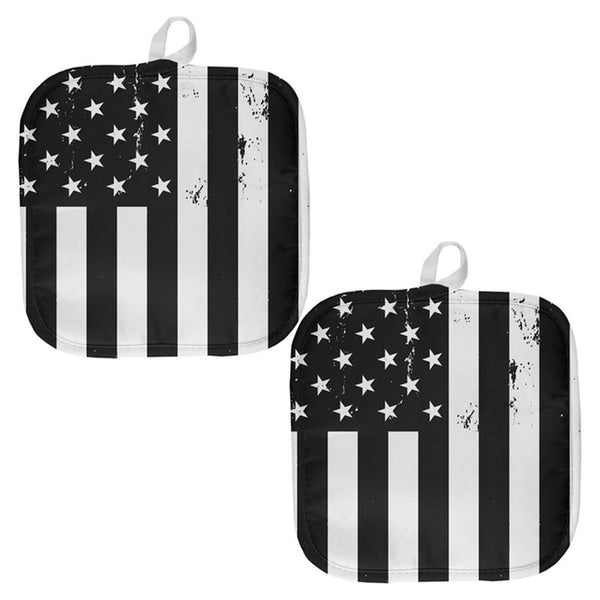 Black and White American Flag All Over Pot Holder (Set of 2)