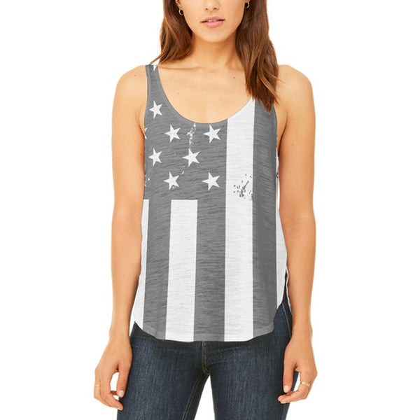 Black and White American Flag Juniors Flowy Side Slit Tank Top