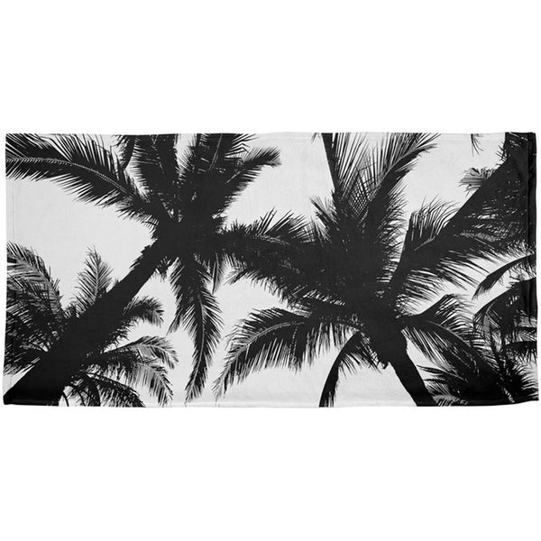 Black And White Palm Tree Silhouette All Over Beach Towel