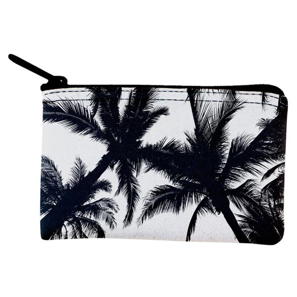Black And White Palm Tree Silhouette Coin Purse