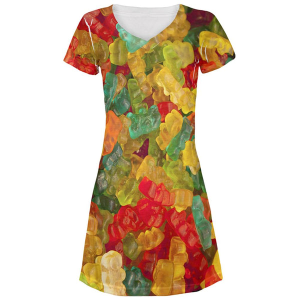 Halloween Candy Gummy Bears All Over Juniors Beach Cover-Up Dress