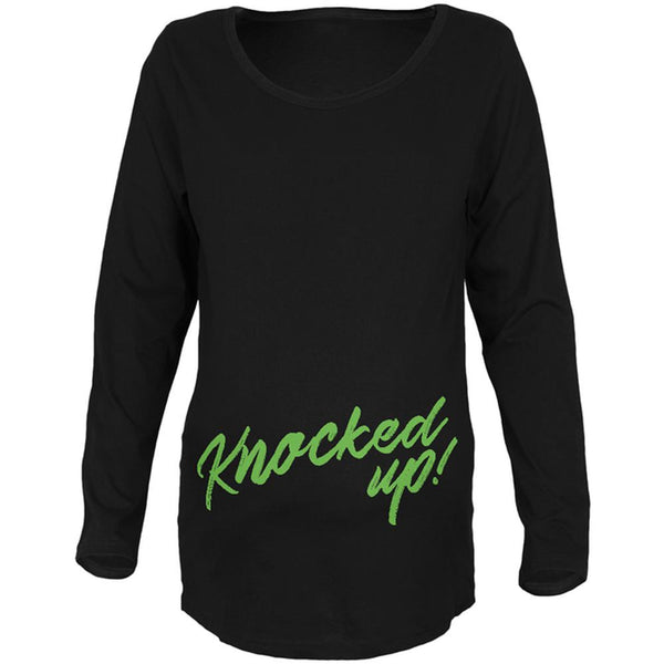 Knocked Up Funny Script Maternity Soft Long Sleeve T Shirt