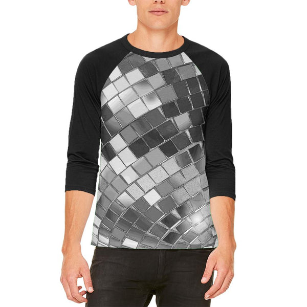 Non-Metallic Disco Ball Mens Raglan T Shirt