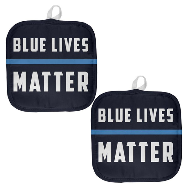 Police Blue Lives Matter Thin Blue Line All Over Pot Holder (Set of 2)