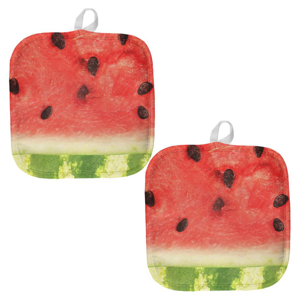 Watermelon Seeds Summer All Over Pot Holder (Set of 2)