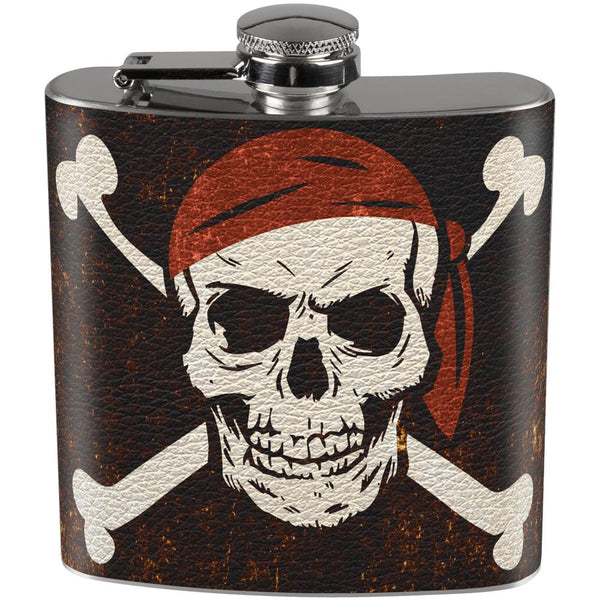 Distressed Pirate Jolly Roger Flag Full Wrap Steel Flask