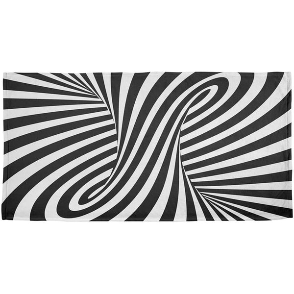 Trippy Black And White Swirl All Over Beach Towel