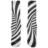 Trippy Black And White Swirl All Over Soft Socks