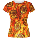 Flaming Hot Charcoal Grilled Steak Pattern All Over Juniors T Shirt