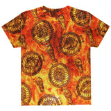 Flaming Hot Charcoal Grilled Steak Pattern All Over Youth T Shirt
