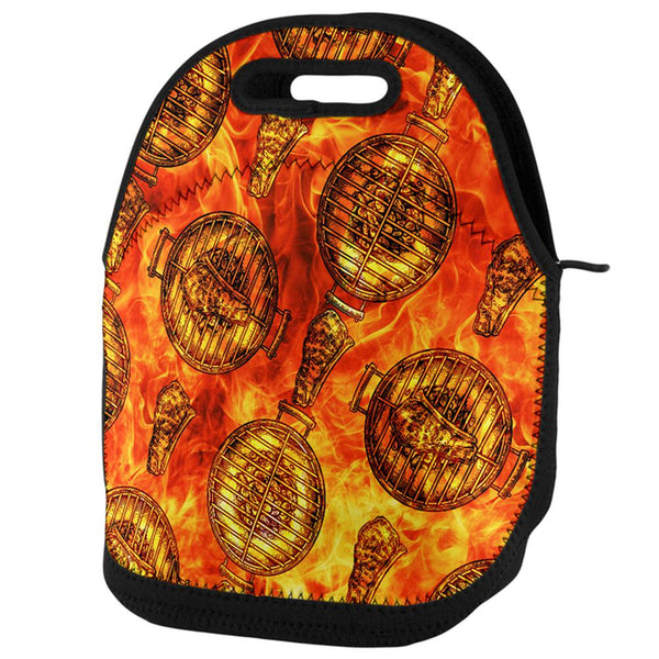 Flaming Hot Charcoal Grilled Steak Pattern Lunch Tote Bag