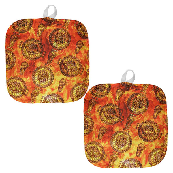 Flaming Hot Charcoal Grilled Steak Pattern All Over Pot Holder (Set of 2)