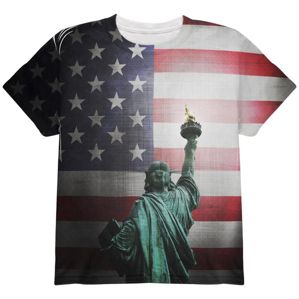 4th of July Let Lady Liberty Light the Way All Over Youth T Shirt