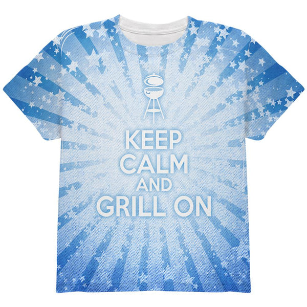 Keep Calm and Grill On Blue All Over Youth T Shirt